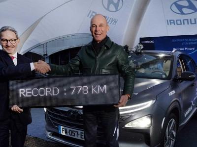 Voiture à hydrogène : record d'autonomie pour Hyundai et Bertrand Piccard